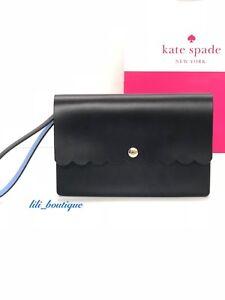 NWT Kate Spade WLRU4808 Bradbury Street Mollie Wristlet Leather Black Blue $159