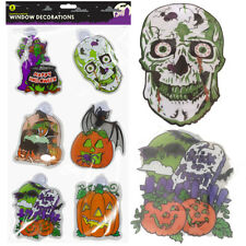 Halloween Window Decorations Pumpkins Pack Of 6 With Suction Cups Skull Witch