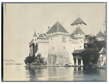 Suisse, Château de Chillon Vintage silver print.  Tirage argentique  9x12