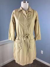 J Crew Khaki Brown XS Shirt Dress Excellent Cotton Career Casual 3/4 sleeve