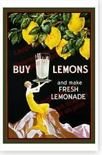 Buy Lemons And Make Fresh Lemonade Retro Art Deco Poster