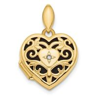 14k Yellow Gold Polished Filigree Diamond Heart Locket
