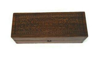 Antique Wheeler & Wilson Sewing Machine Oak Wooden Box W&W Fitted Corners