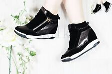 LADIES WOMENS INNER HEEL WEDGE TRAINERS ZIP HIGH TOP ANKLE BOOTS SHOES SIZE 3-8