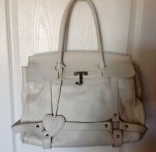 VGUC Juicy Couture $475 Ivory Leather Large Satchel Tote Briefcase Shoulder Bag