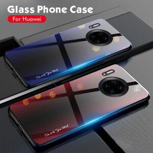 For Huawei Mate 30 Pro Luxury Tempered Glass TPU Bumper Ultra Slim Back Case