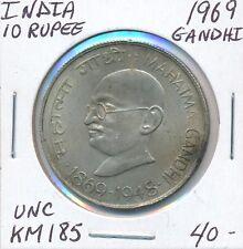 INDIA 10 RUPEE GANDHI  1969  KM 185  -  UNC
