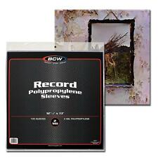 100x BCW 33 1/3 RPM 2 Mil Outer Sleeves Archival Poly Bags for Record Albums