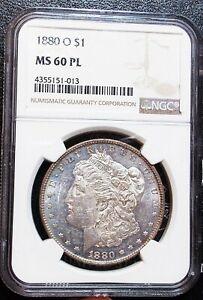 1880-O NGC MS60 PL Morgan Silver Dollar Flashy BU Prooflike Mirrors