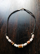"Black Fabric Cord & Brown Ceramic Bead Necklace - 15"" long"