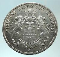 1908 J GERMANY German States HAMBURG w Lions Antique Silver 5 Mark Coin i75872
