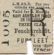 L.M.S.R. Edmondson Ticket - Fenchurch Street to Purfleet