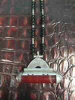 Halskette Anhänger Gestempelt Silber Amulette Antik Achat 800 Berber Tuareg Su3