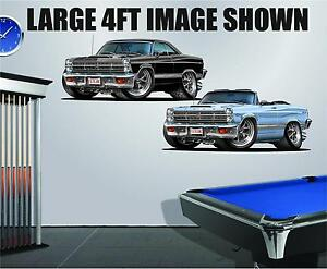 1966-7 Ford Fairlane GT 390 4ft Long Wall Graphic Decal Sticker Man Cave Decor