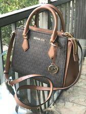 Michael Kors Medium Leather Messenger Crossbody Handbag Bag Satchel Purse Brown