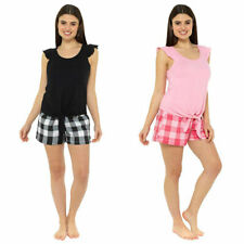 NEW Ladies Cotton/Polyester  Ruffle Tie Top With Check Shorts Pyjamas By Foxbury