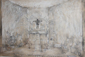 1984 large pastel painting theatre stage design '' Holiday'' signed