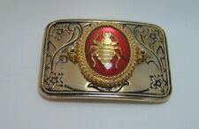 Belt Buckle Gold Tone Honey Bumble Sea Bee Red Medallion USA