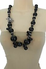 Women Silver Metal Flower Charm Long Fashion Jewelry Necklace Big Black Beads
