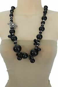 Women Silver Metal Flower Charm Long Fashion Jewelry Necklace Black Beads Bling