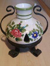 Kerzenhalter Schmiedeeisen und Porzellan / rustikal