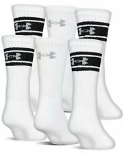 UNDER ARMOUR 6-Pair Charged Cotton Training Crew Socks, White Youth 13.5K- 4Y
