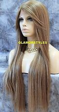 Long Layered Brown Ash Blonde Mix Full Lace Front Wig Heat Ok Hair Piece NWT