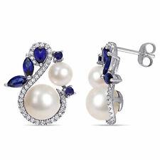 Amour 10k White Gold Cultured FW Pearl Created Blue Sapphire and Diamond Earring