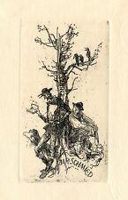 Don Quixote Ex libris Bookplate Etching by Jaroslav Vodrazka, Czech Republic