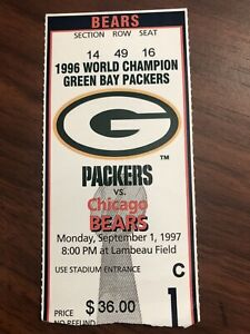BRYAN COX-GIVES GREEN BAY PACKERS FANS FINGER-EJECTED/1997 TICKET STUB/BEARS