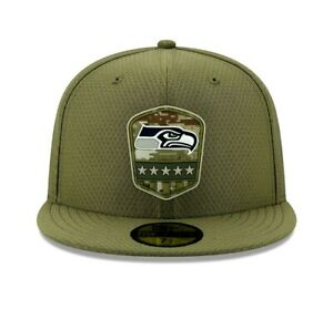 New Era 59Fifty Salute to Service Seattle Seahawks Fitted Hat Size 7 1/2 NFL