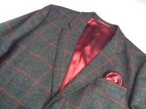 HOLLAND ESQUIRE Windowpane Jacket 🌍 Size 48 🌎 RRP £395+ 📮 WORLDWIDE FREEPOST