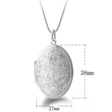 Jewelry Unique Snake Chain Silver Plated Round Locket Flower Pendant Necklace