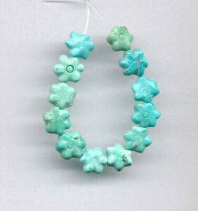 """MEXICAN CAMPITOS TURQUOISE 7MM FLOWER BEADS - 3"""" Strand - 7869"""