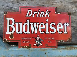 Vintage Budweiser Beer Porcelain Anheuser Busch Brewery Bar Gas Oil Bar Sign