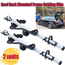 Aluminium Roof Rack Mounted Frame Holding Bike Bicycle Carrier 2 Units Package