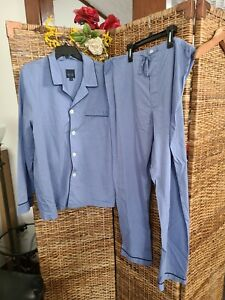 Majestic International Men'Pajama Set PJ's Sz Large  Blue 2 Piece Pants & Shirt