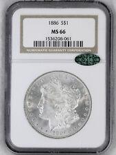1886 Morgan Dollar NGC MS66 CAC Blast White Semi Mirror Superb Luster PQ #62E