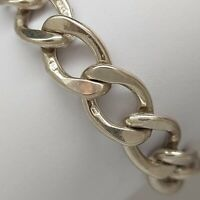 "Solid sterling silver 925 bracelet bangle Az488-23 heavy chain 7"" jewellery."