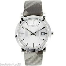NEW BURBERRY ENGRVD DIAL SHIMMER GRAY SILVER PLAID CHECK BAND SWISS WATCH BU1869