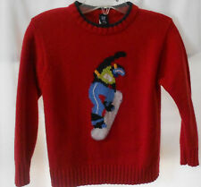 Boys 5-6 Gap red, sweater with snowboard figure on front