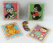Vintage Children Sewing Cards 4 Kitten Bear Dog and Clown NOS Unused