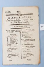 Circa 1773 Ships Manifest Port of Marseilles King Louis Xv Document