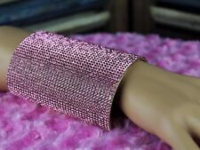 Pink Crystal Wide Cuff Bracelet Rhinestones on Extra Wide Gold Statement Cuff