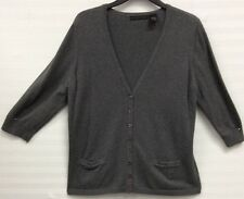 Preswick & Moore:Gray 3/4 Sleeve Button-Down Cardigan Sweater Size Large