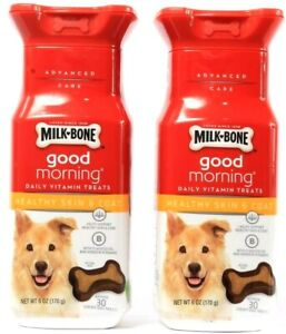 2 Milk Bone Good Morning Healthy Skin & Coat Daily Vitamin Chicken 6oz BB 1-7-22