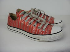 A PAIR OF LADIES RED & SILVER CANVAS CONVERSE SHOES- TRAINERS SIZE UK 5.5.