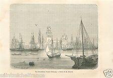 Landscape Port Caspian Sea Astrakhan Астрахань Russia Russie GRAVURE PRINT 1860