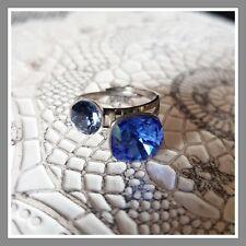 Avant 28,90€ bague argentée ajustable cristal swarovski coloris bleu mode femme