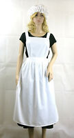 Ladies Victorian Edwardian Apron -  Maids Fancy Dress Costume Optional Mop Hat